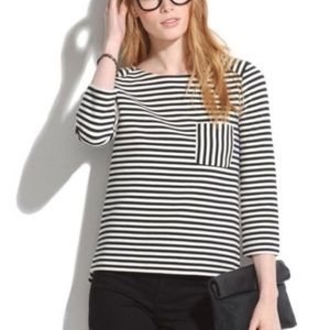 Madewell Ridge Stripe Pullover Top Black White XS